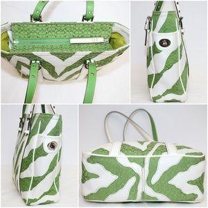 Coach Bags - Coach White & Green Monogram Zebra Vintage Tote